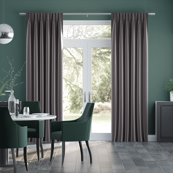 Fine Velvet Smoke Grey Curtains