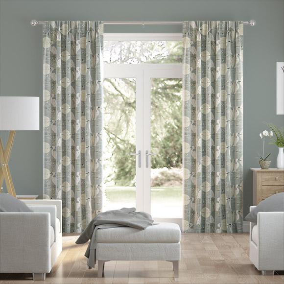 Moonlit Cranes Linen Silver Curtains