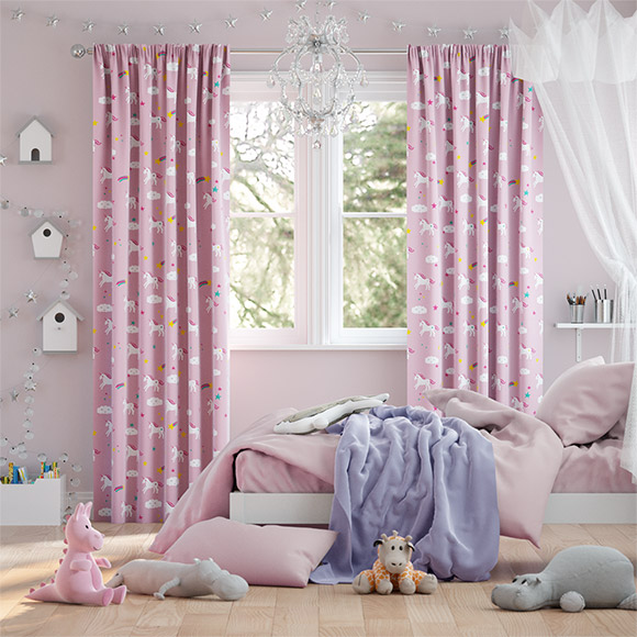 Unicorn Dreams Pink Curtains