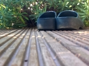 Garden clogs on a deck. Photograph by Graham Soult