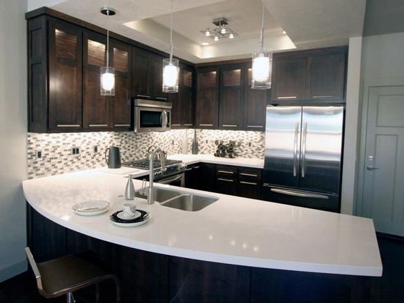 White worktops. Photograph by Mayfair Granite