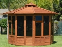 How a redwood octagonal gazebo can beautifully complement your home. Photograph by Forever Redwood