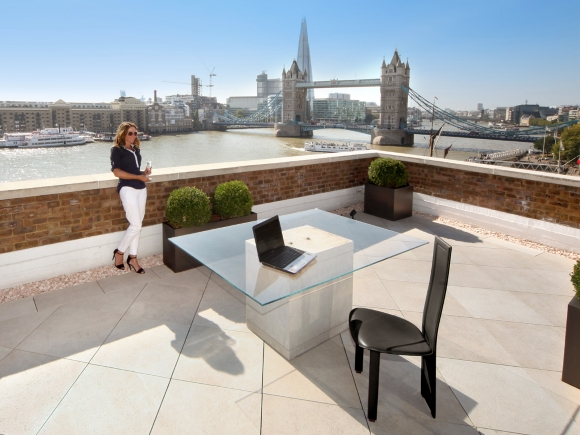 Porcelain tiles on an outdoor terrace