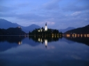 Nighttime view of the island and church, Lake Bled, Slovenia. Photograph by Graham Soult